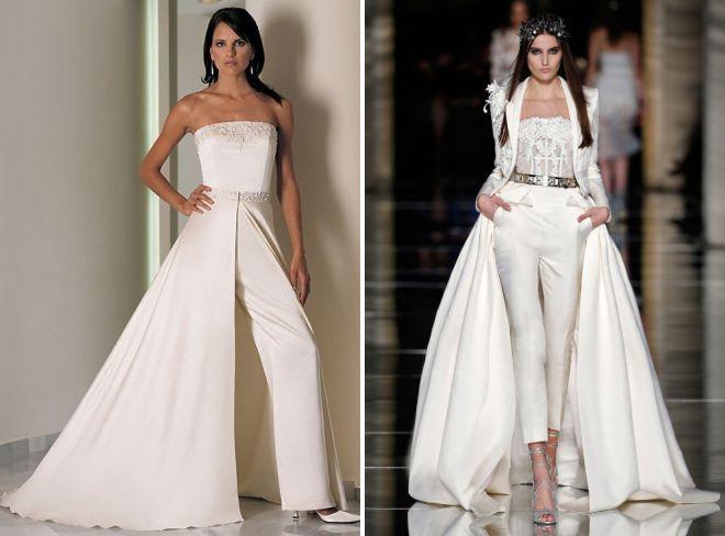 свадебный женский белый брючный костюм 2018