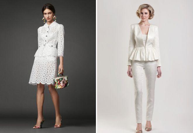 с чем носить нарядный женский белый костюм