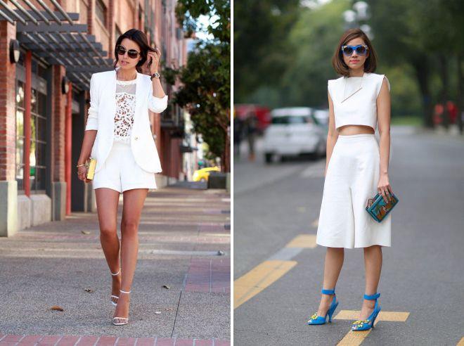 образы с легким женским белым костюмом