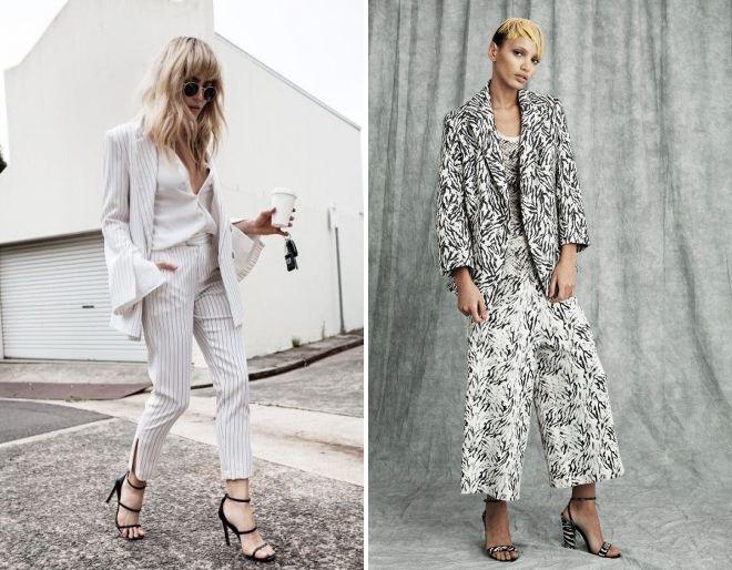 женский белый брючный костюм 2018