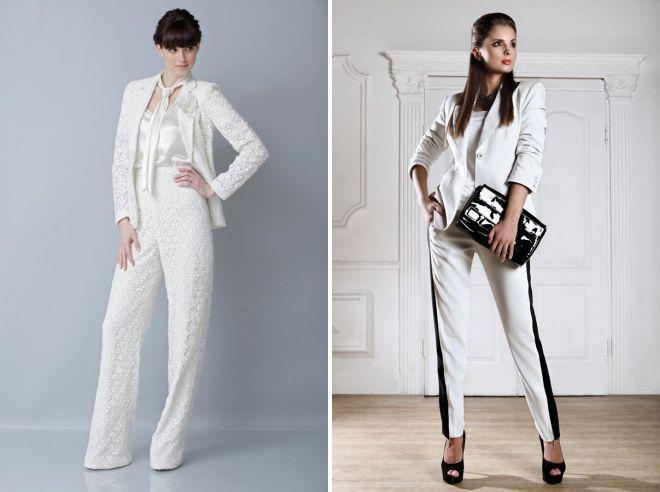 женский белый костюм с брюками