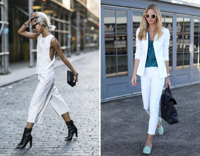 женский белый костюм с брюками образы