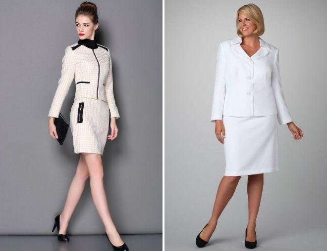 женский классический белый костюм с юбкой