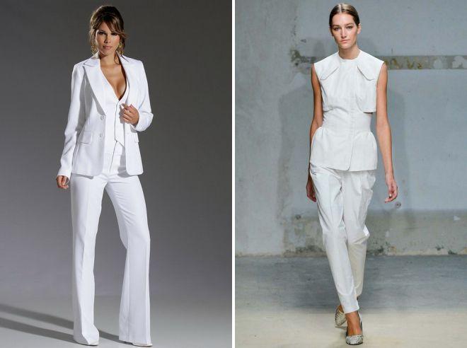белый женский классический костюм