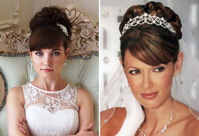 Фото свадебных причесок на длинный волос с челкой 59