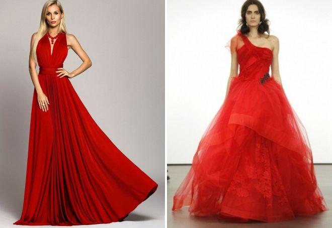 a9ae0913533 Модное длинное красное платье в пол – летние и теплые модели