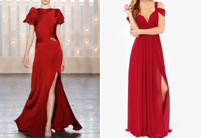 красное платье в пол с разрезом