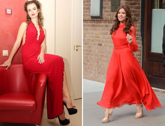 с чем носить красное платье в пол