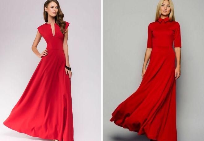 повседневное длинное красное платье