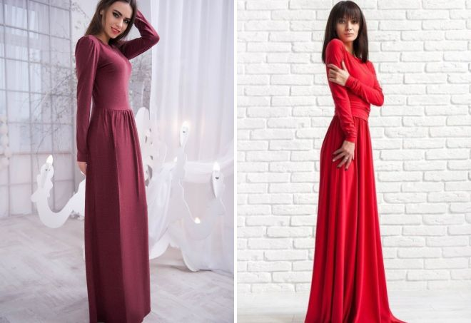 шерстяное красное платье в пол