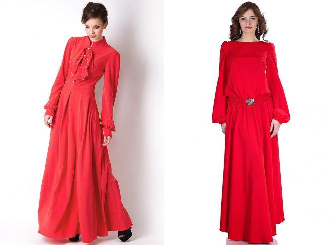 строгие платья в пол красного цвета