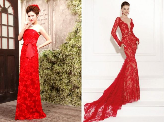 красное кружевное платье в пол