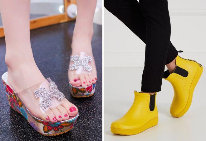 женская красивая резиновая обувь