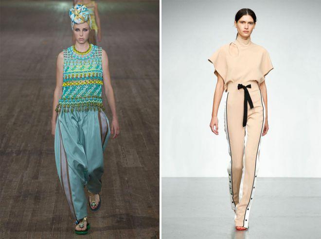 модные летние женские брюки с лампасами