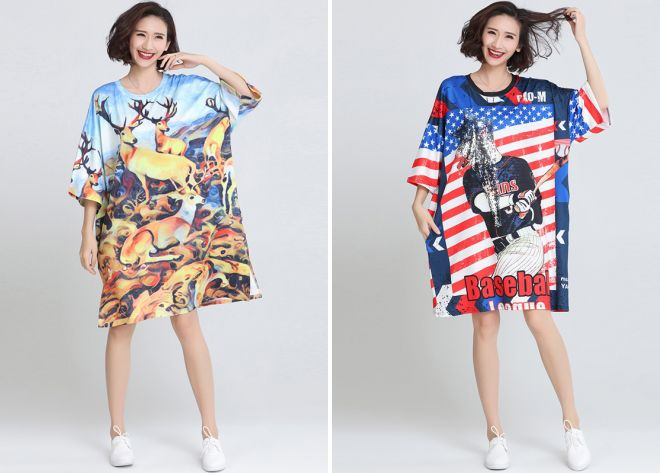 модное платье футболка с длинным рукавом
