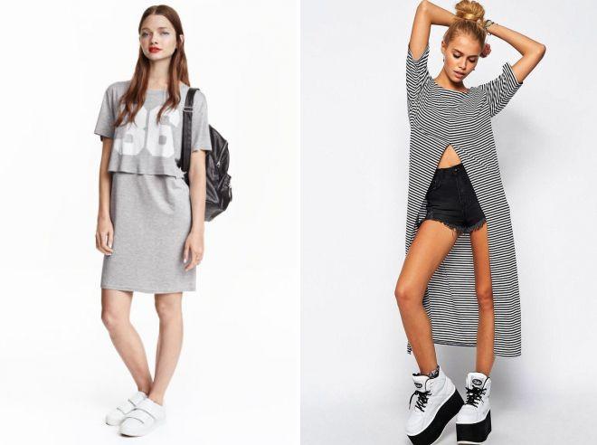 модные платья футболки 2017