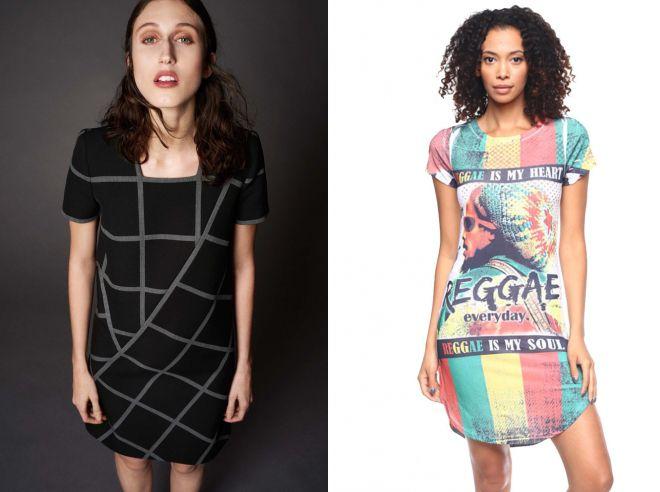 модные платья футболки в клетку
