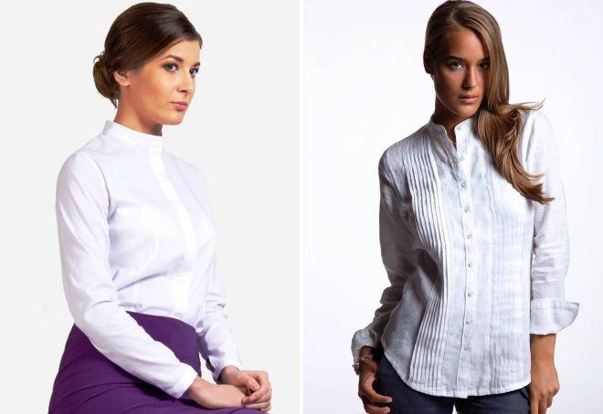 белая рубашка без воротника