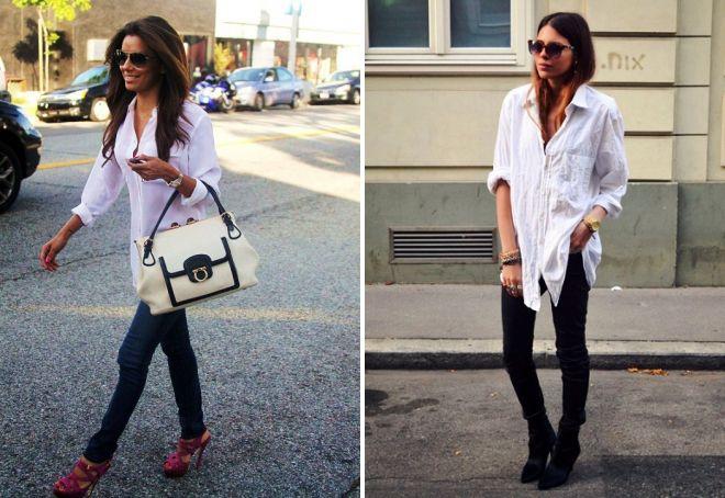 340016af41c с чем носить белую рубашку как носить белую рубашку женщине