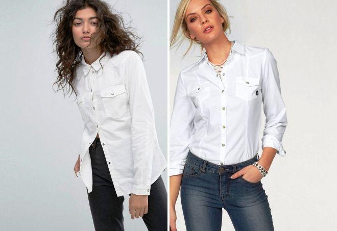 белая джинсовая рубашка