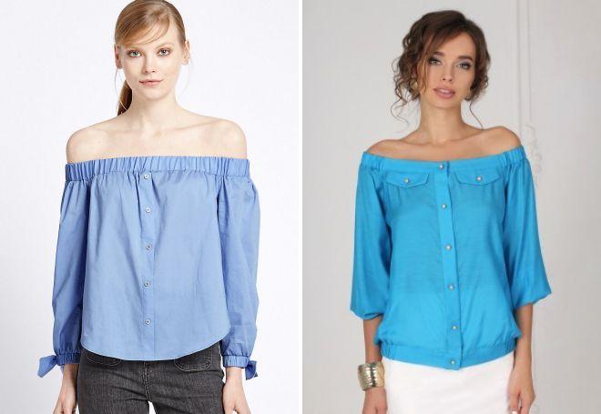 модные рубашки с открытыми плечами