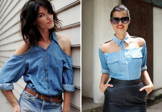джинсовая рубашка с открытыми плечами