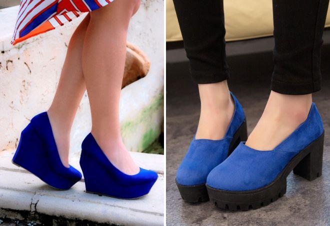 6095c6f06 Модные женские синие туфли – замшевые, лаковые, бархатные, на ...