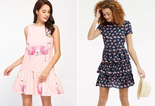 платье с принтом фламинго