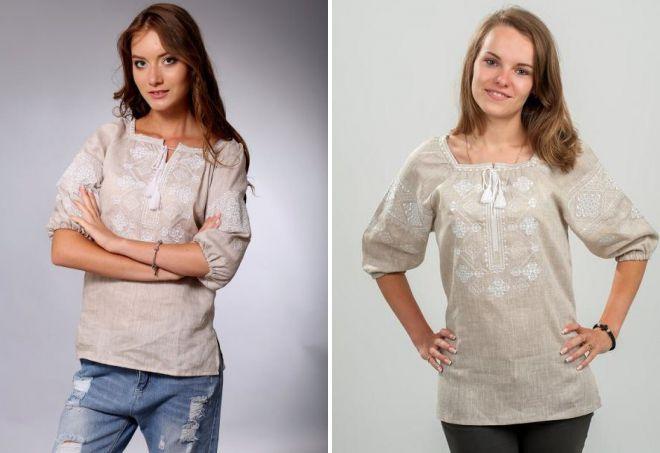женские льняные рубашки с вышивкой
