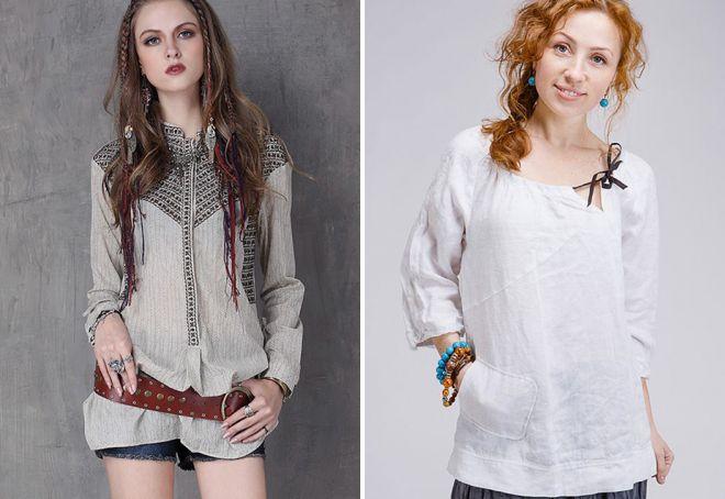 льняные женские рубашки бохо