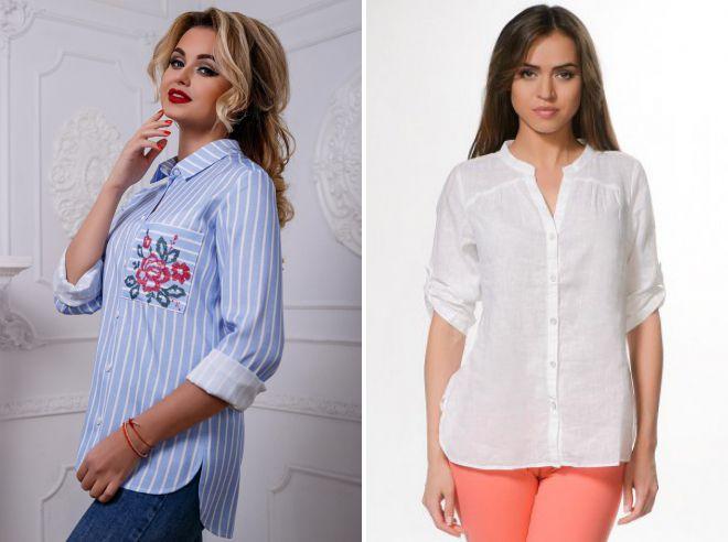женские стильные льняные рубашки