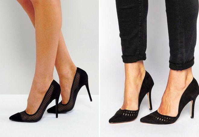 женские черные туфли лодочки
