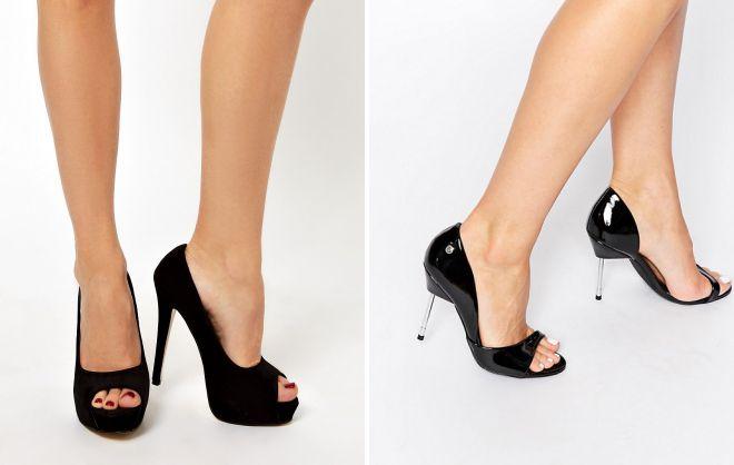 женские черные туфли с открытым носом