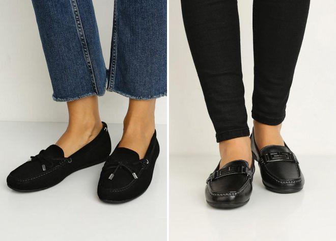 женские черные туфли мокасины