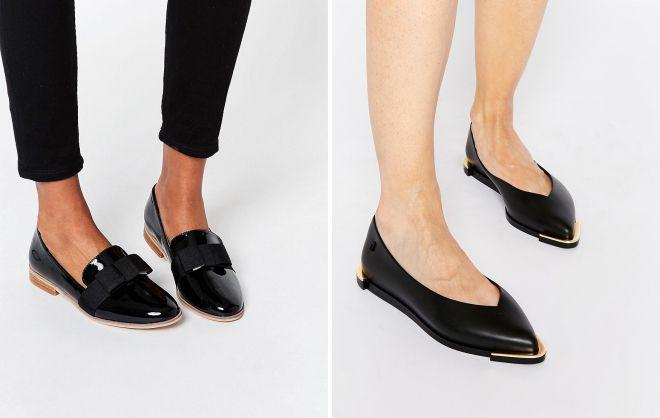 женские черные туфли без каблука