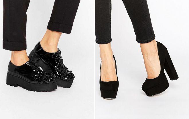 черные женские закрытые туфли