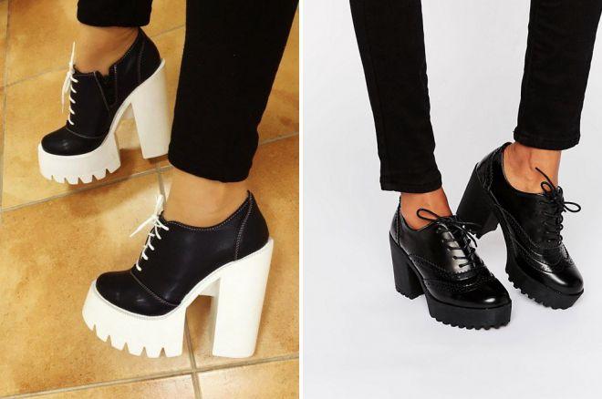 туфли на тракторной подошве со шнуровкой