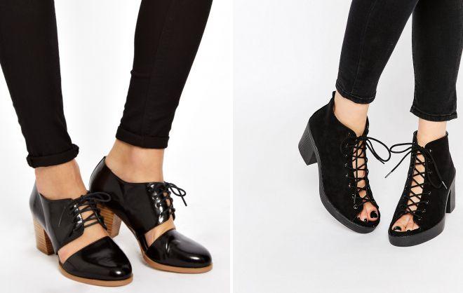 туфли на каблуке со шнуровкой