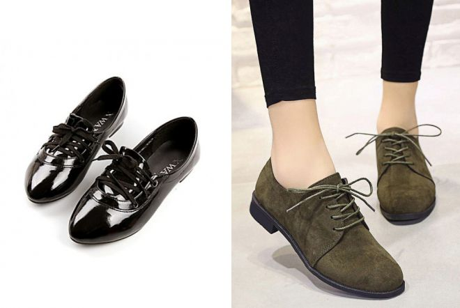 туфли на шнурках без каблука
