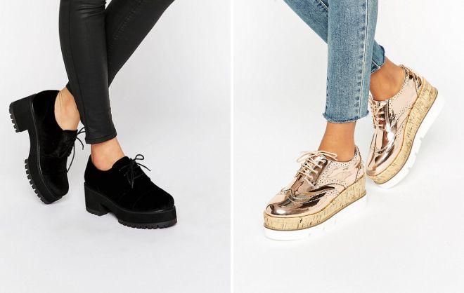 туфли на платформе на шнурках