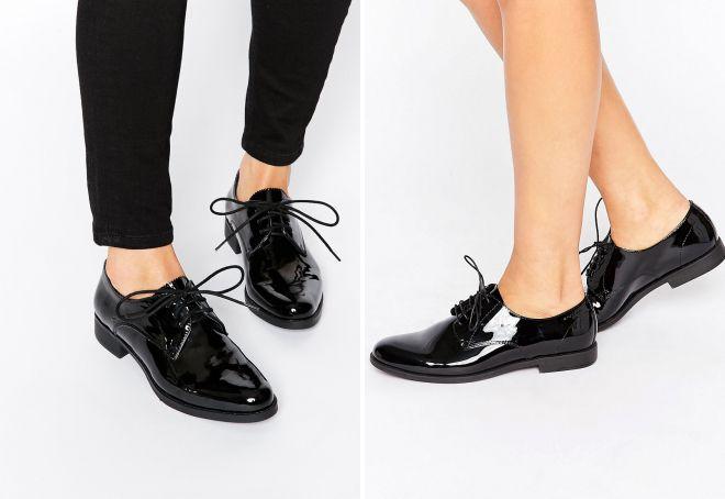 лаковые туфли на шнурках