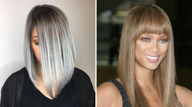 серый цвет волос каре