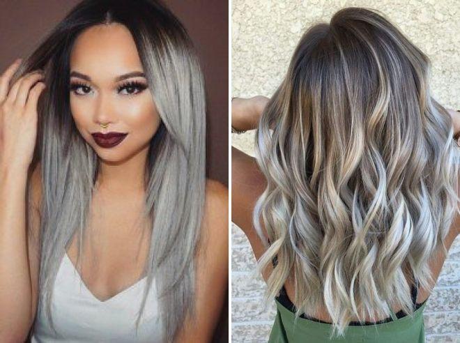мелирование волос серый цвет