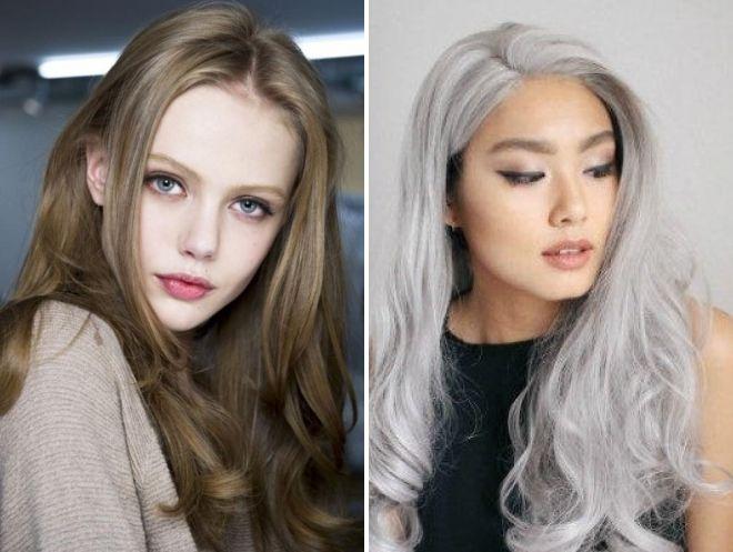 серый цвет волос для зеленых глаз