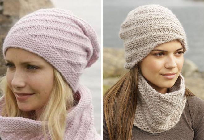 модная вязаная шапка с диагональным узором