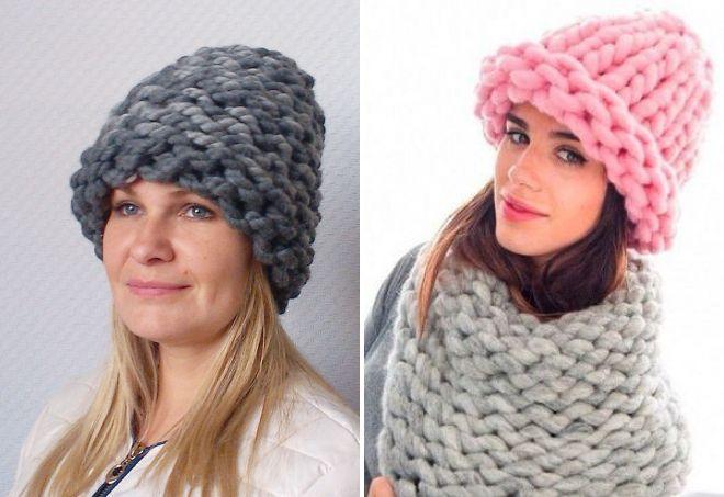 модные вязаные шапки из толстой пряжи