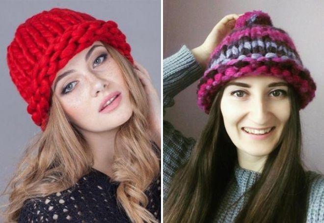 толстые модные вязаные шапки