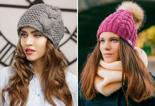 модные шапки вязаные косами