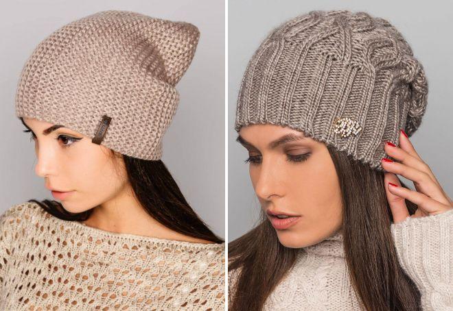 модные вязаные шапки бини