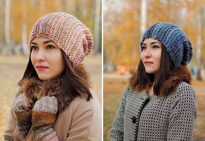 модные вязаные шапки для девушек